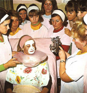 A practical class in the Cosmetics Department of the Hairdressers School in Belgrade